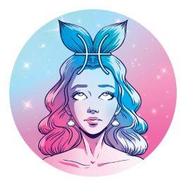 Zodia Pești reprezentată de o femeie frumoasă cu părul lung care poartă pe cap o coadă de pește albastră
