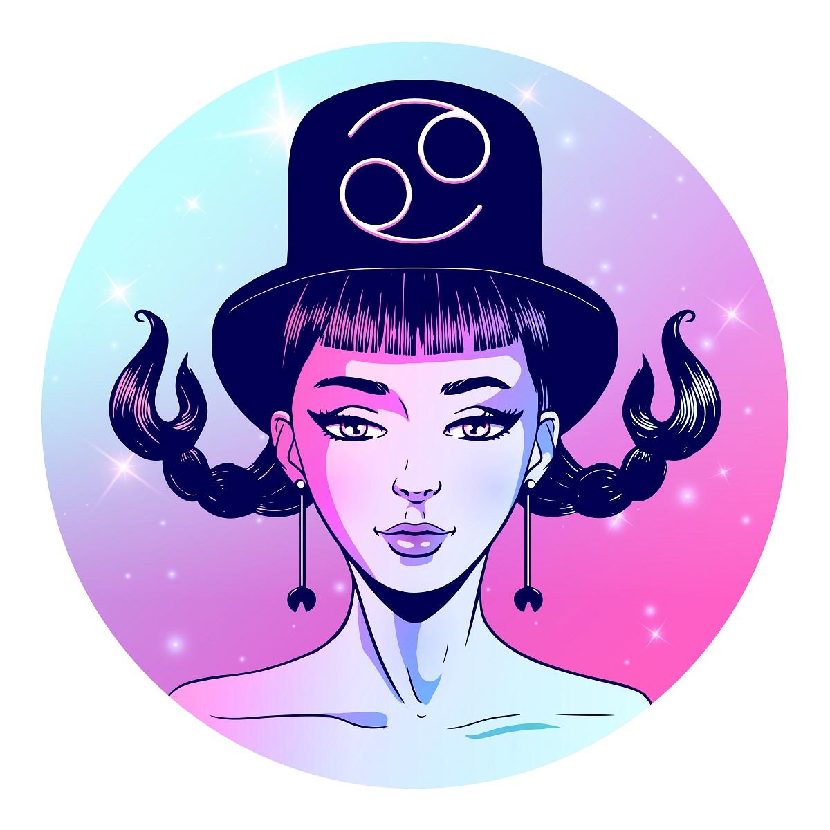 O femeie frumoasă cu cotițe care poartă pe cap o pălărie pe care se află semnul pentru zodia Rac
