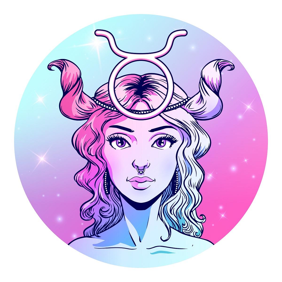 O femeie frumoasă în zodia Taur care are părul prins iar pe cap poartă semnul său zodiacal