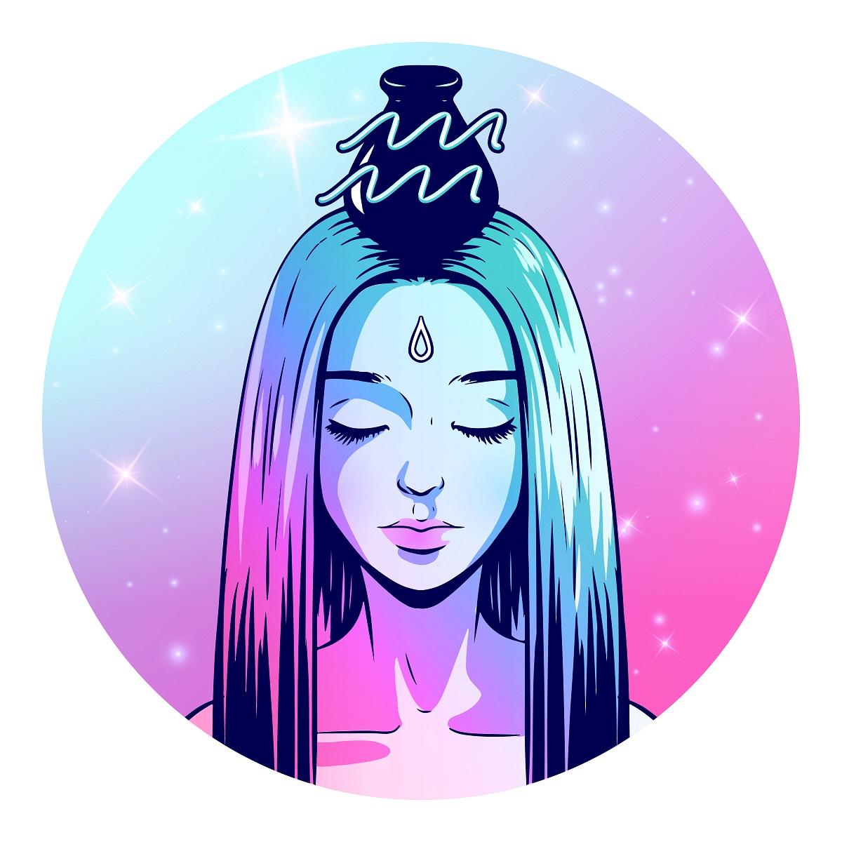 Zodia Vărsător reprezentată de o femeie frumoasă cu părul lung și drept care poartă pe cap un vas antic