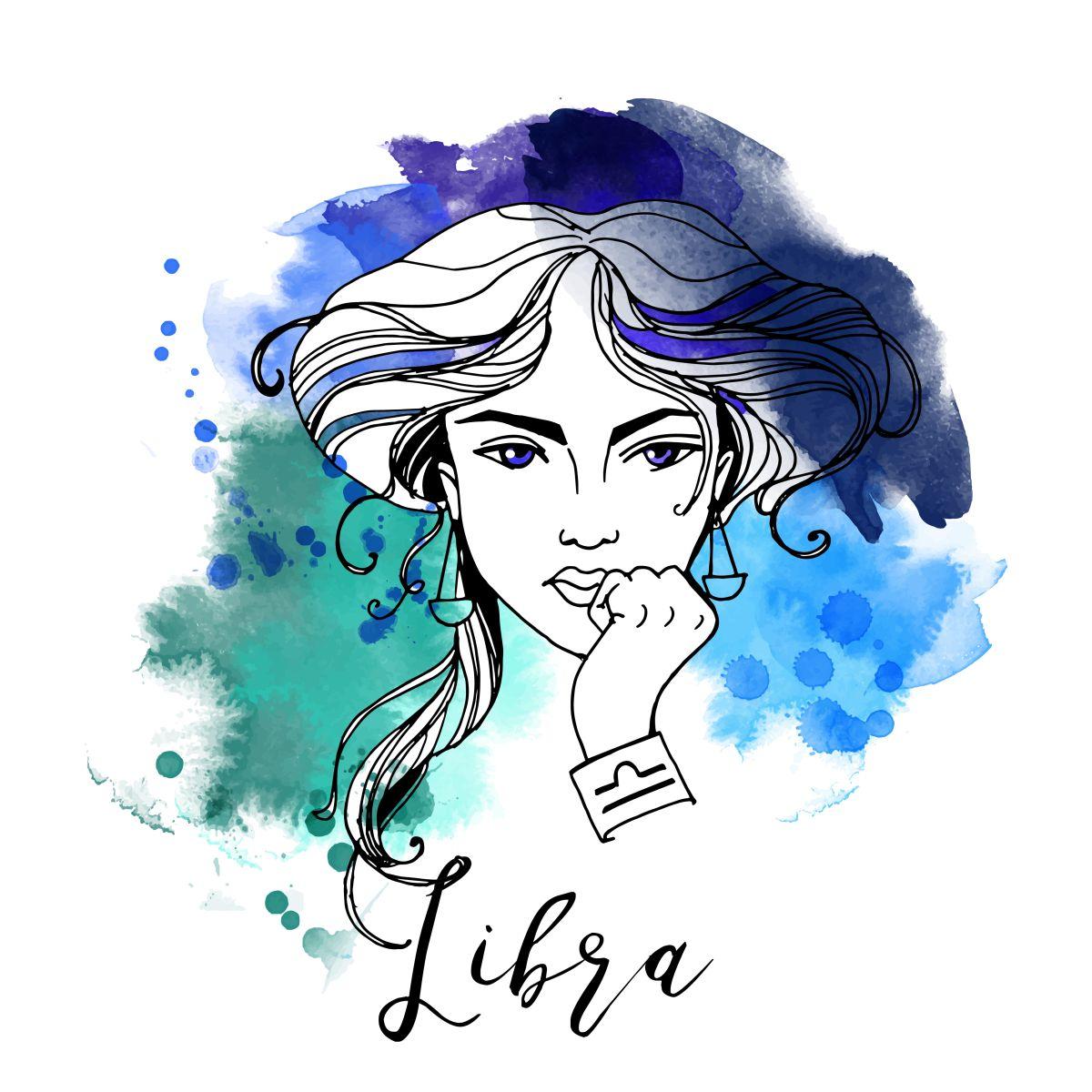 Zodia Balanță ilustrată sub forma chipului unei femei frumoase, cu coafat cu cărare pe mijloc și prins într-un coc lejer, pe un fundal în nuanțe de albastru.