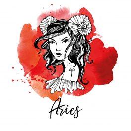Zodia Taur ilustrată sub forma chipului unei femei frumoase, semnul zodiacal desenat pe umărul stâng, pe un fundal în nuanțe de roșu.