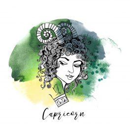 Zodia Capricorn ilustrată sub forma chipului unei femei frumoase, cu părul creț și un tatuaj pe umăr cu semnul zodiacal Capricorn.