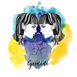 Zodia Gemeni ilustrată sub forma chipurilor a două femei tunse bob, care se privesc în ochi, și poartă cercei cu simbolul zodiei Gemeni.