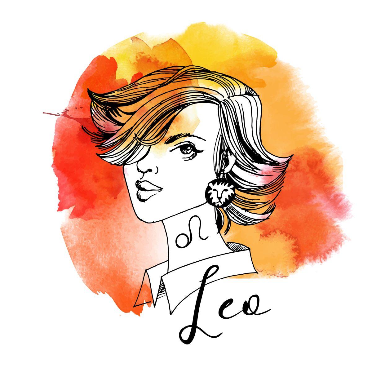 Zodia Leu ilustrată sub forma chipului unei femei frumoase, cu părul tuns bob scurt și buze voluptoase, are în urechea stângă un cercel în forma unui cap de leu.