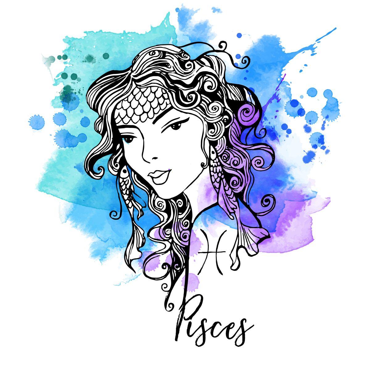 Zodia Pești ilustrată sub forma chipului unei femei frumoase, cu părul lung și ondulat, având desenați pe frunte solzi de pește.