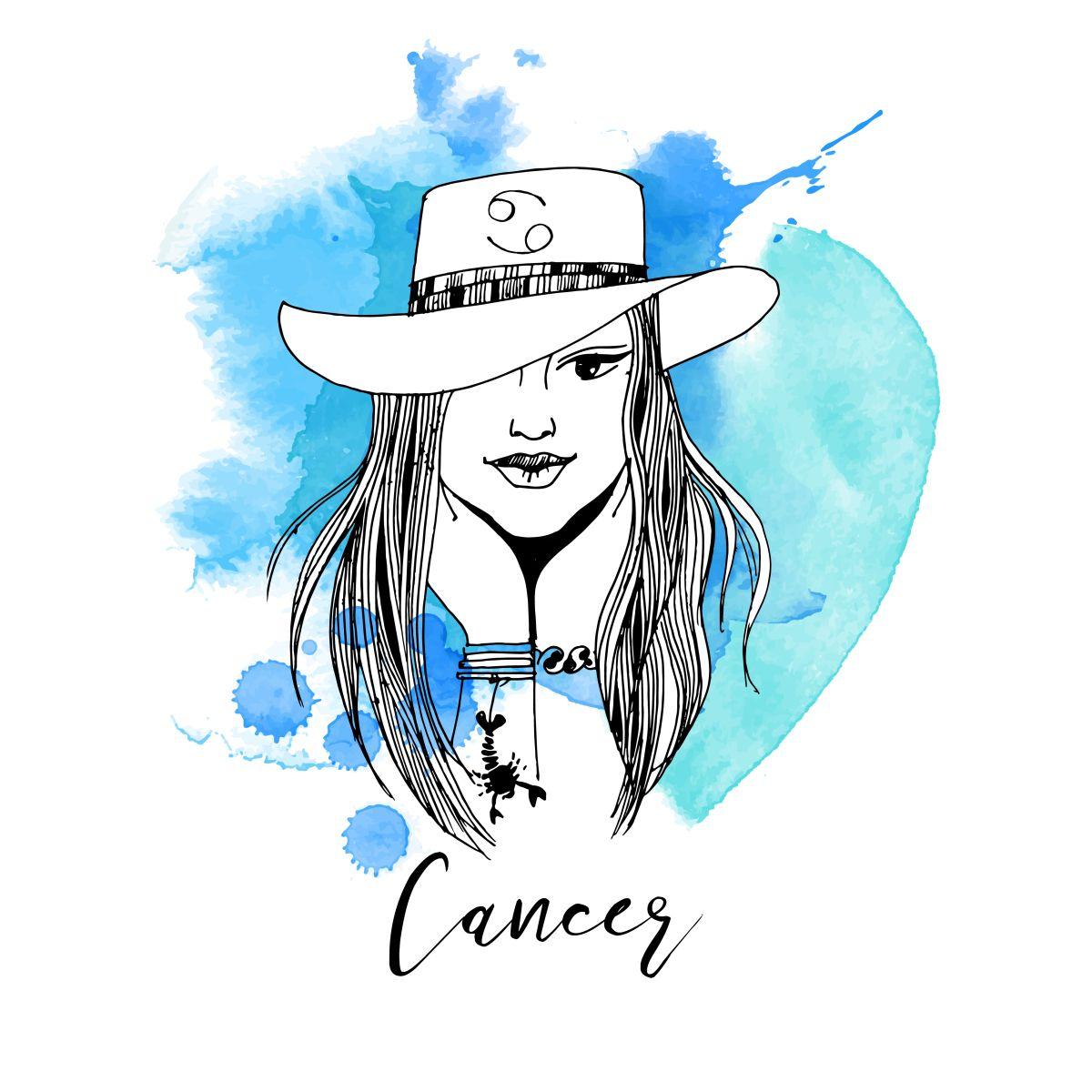 Zodia Rac ilustrată sub forma chipului unei femei frumoase, care are părul lung și poartă o pălărie cu simbolul zodiei Pești desenat pe ea.