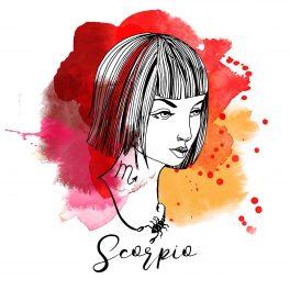 Zodia Scorpion ilustrată sub forma chipului unei femei frumoase, cu părul tuns bob, care poartă la gât un colier cu un medalion sub formă de scorpion.