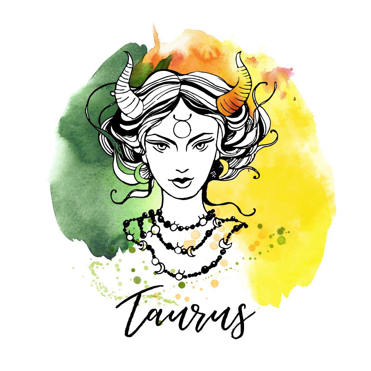 Zodia Taur ilustrată sub forma chipului unei femei frumoase, semnul zodiacal desenat pe frunte, pe un fundal în culorile verde și galben.