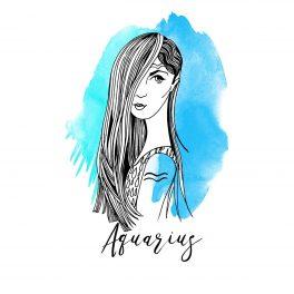 Zodia Vărsător ilustrată sub forma chipului unei femei frumoase, cu părul lung și drept, care îi acoperă jumătatea stangă a feței.