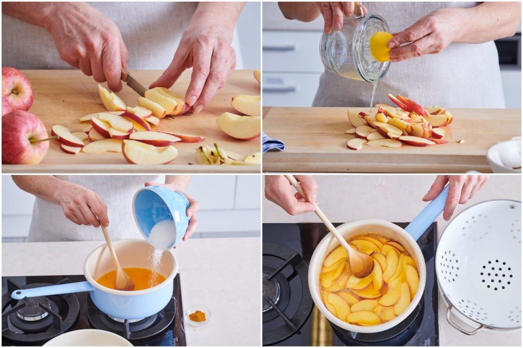 Colaj de poze cu pașii de preparare a merelor caramelizate pentru tort Medovik