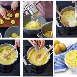 Colaj de poze cu pașii de preparare ai piureului de cartofi