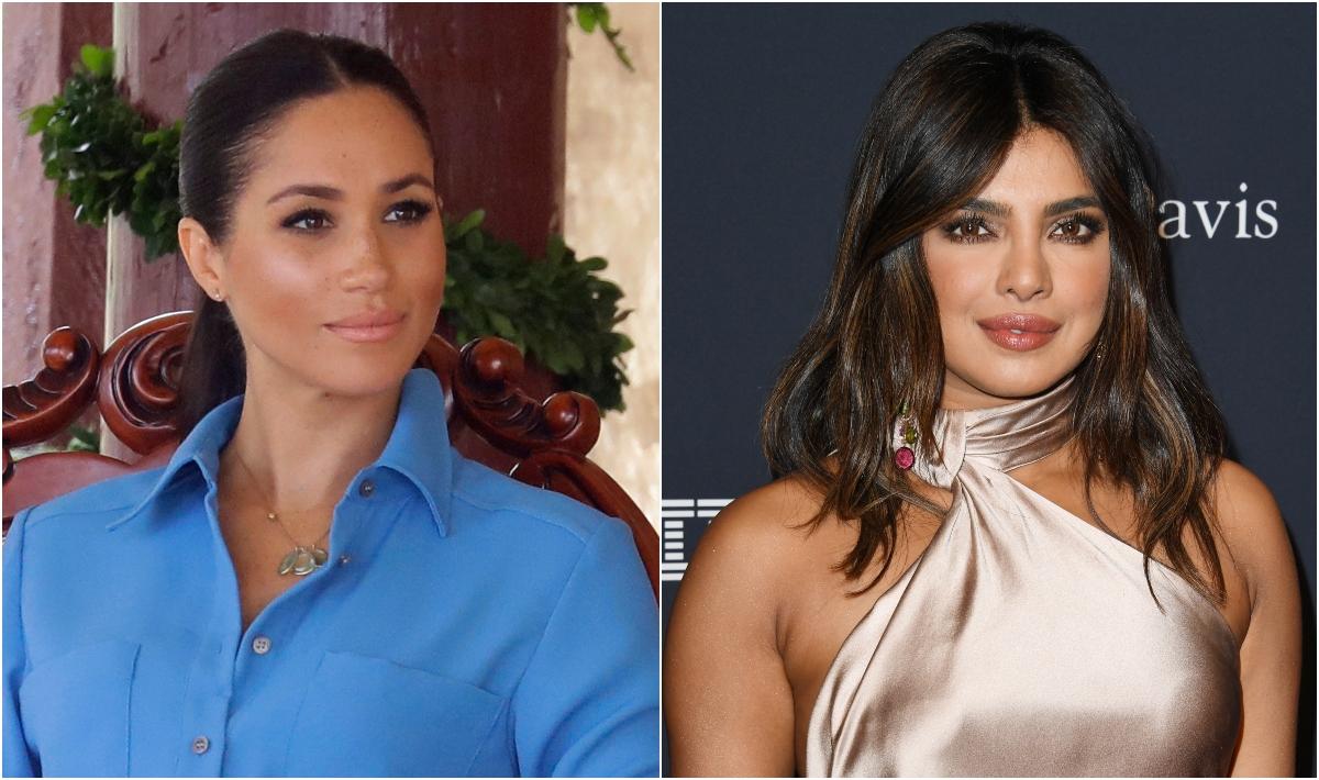 Colaj Meghan Markle și Priyanka Chopra. Meghan Markle e îmbrăcată într-o rochie albastră și stă pe scaun. Priyanka Chopra e pe covorul roșu, cu o bluză argintie și părul lung, fundal negru