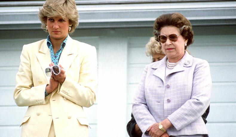 Prințesa Diana și Regina Elisabeta, la un joc de polo, îmbrăcate elegant