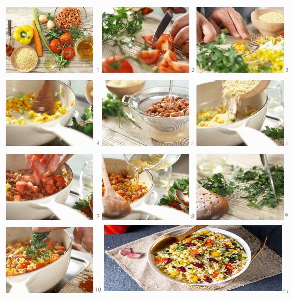 Colaj de poze cu pașii de preparat rețeta de Bulgur cu legume și fasole roșie