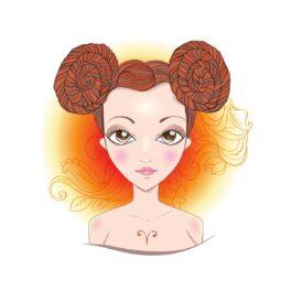 o femeie frumoasă care are părul prins în două cpdițe și reprezintă zodia Berbecului