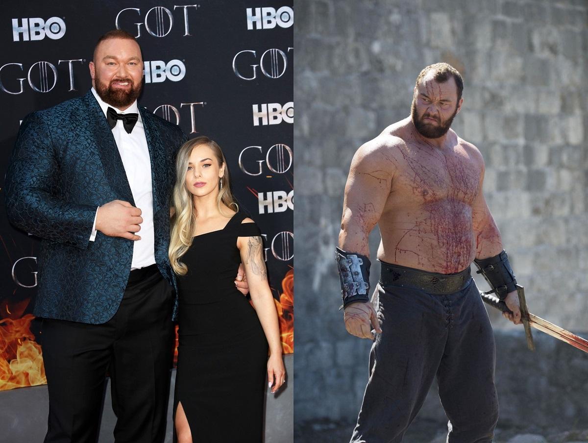 Björnsson în costum albastru cu papion negru, alături de soția sa, care poartă o rochie neagră, într-un colaj cu o altă fotografie cu Björnsson la bustul gol și pătat de sânge într-o scenă din Game of Thrones