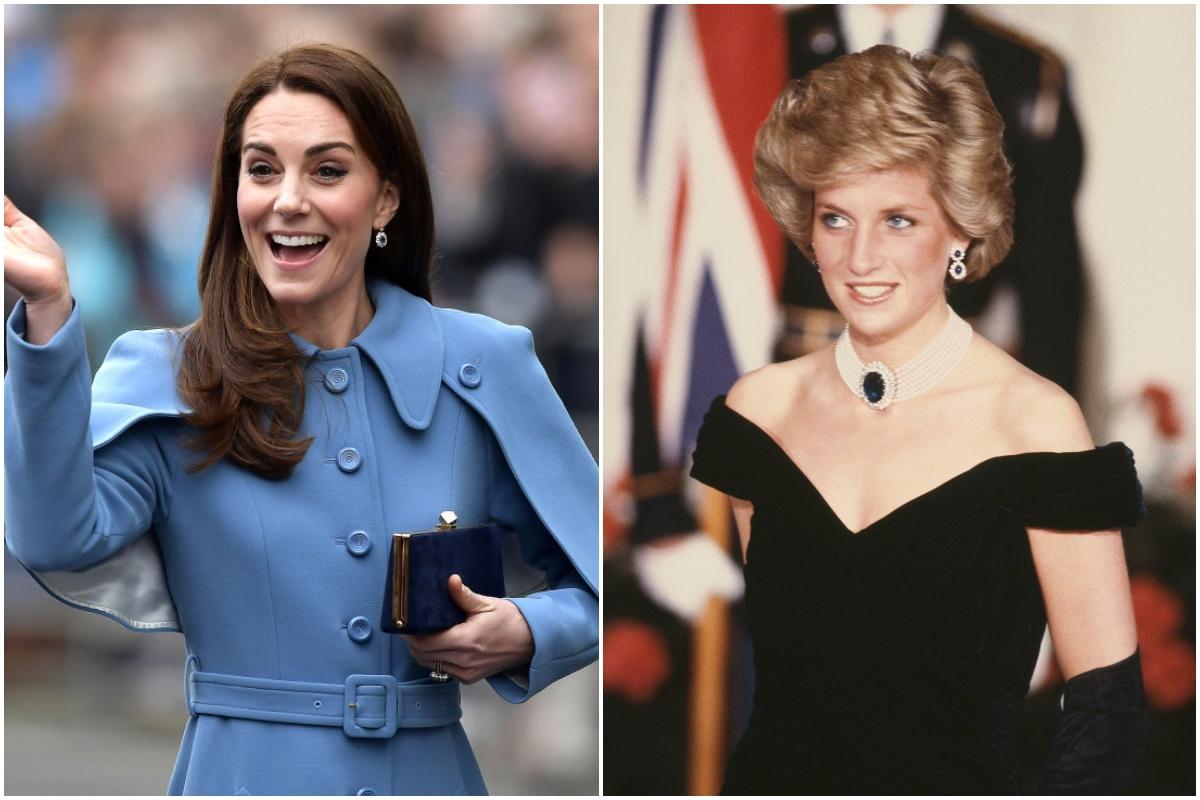 Colaj cu Prințesa Diana și Kate Middleton. Kate poartă o ținută albastră și face cu mâna, Printesa Diana poartă o rochie neagră, decoltată, cu un colier renumit