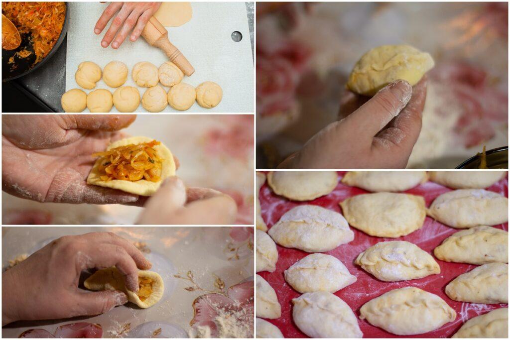 Colaj cu poze din timpul preparării plăcintelor cu varză
