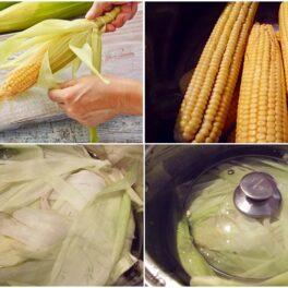 Colaj de poze cu pașii de gătire a porumbului fiert
