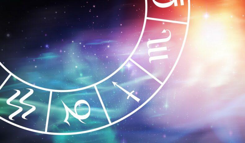 O parte dintre semnele zodiacale, dispuse în formă circulară, pe un fundal multicolor, pentru a ilustra cum influențează zodia schimbările de dispozitie