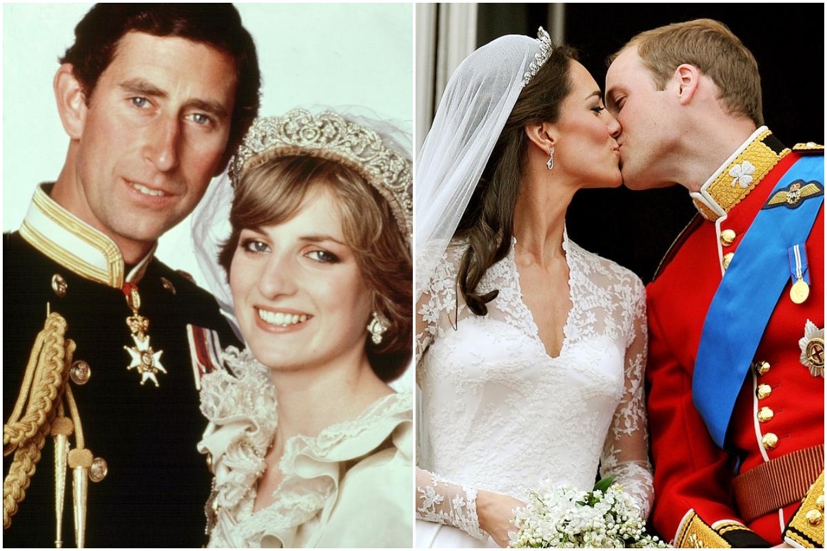 Colaj Prințesa Diana și Prințul Charles, Kate Middleton și Prințul William în zilele nunții. Diana și Charles au fost fotografiați cu un fundal alb, unul lângă altul, Charles îmbrăcat în uniformă neagră. Kate și William se sărută pe balcon, el îmbrăcat în uniformă roșie