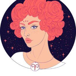 O femeie frumoasă cu părul roz și creț fiind o reprezentare a nativului din zodia Berbec