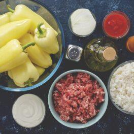 Ingrediente pentru rețeta de ardei umpluți