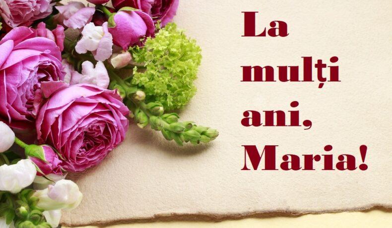 Felicitare cu mesaj de la mulți ani, cu flori roz