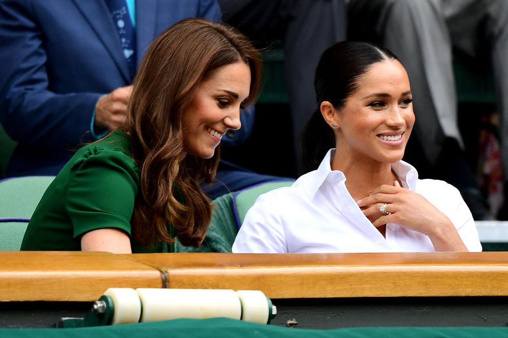 Meghan Markle și Kate Middleton, în tribune, la Wimbledon, în 2019