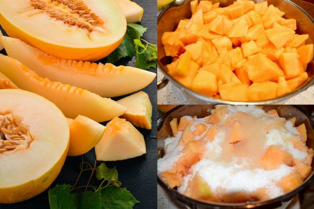 Colaj de poze cu pașii de pregătire pepene galben pentru dulceață