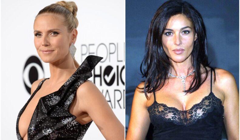 Colaj Heidi Klum și Monica Bellucci, două modele cunoscute. Heidi Klum poartă rochie neagră, pe un umăr, cu decolteu adânc și părul strâns. Monica poartă o rochie neagră, cu bretele și decolteu cu dantelă, părul lung și negru desfăcut