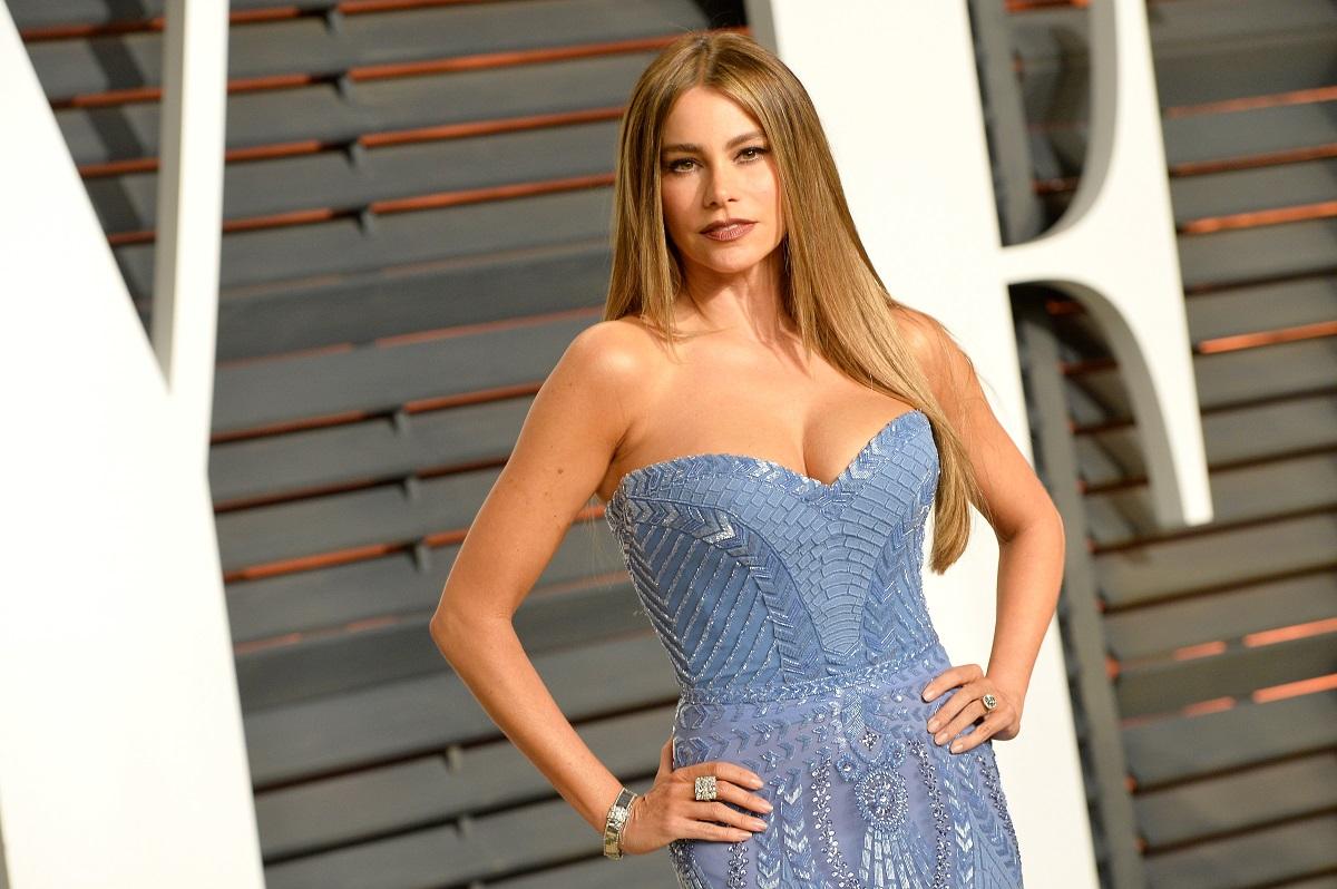 Sofia Vergara a purtat o rochie albastră, fără bretele și cu decolteu adânc pe covorul roșu de la petrecerea Vanifty Fair Oscar party, din anul 2015. Avea părul lung și drept și ruj roșu