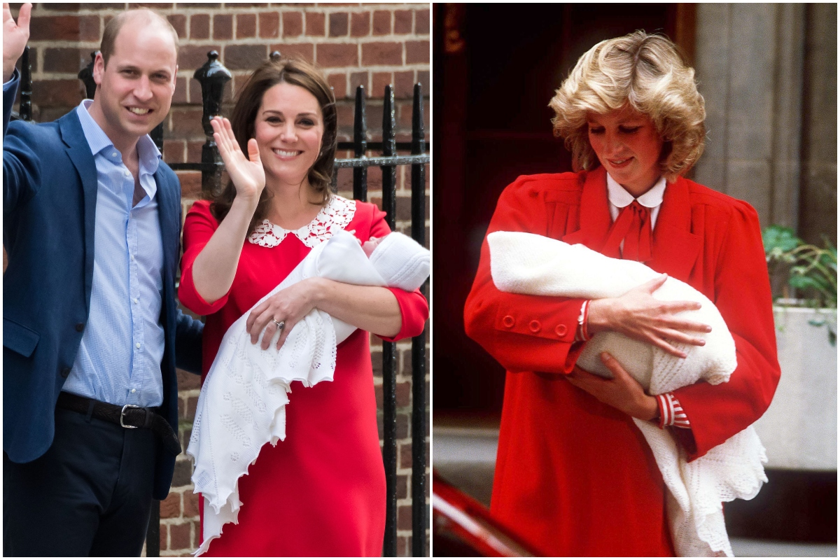 Colaj cu Prințesa Diana și Kate Middleton, ambele îmbrăcate în rochii roșii cu guler alb. Kate și William după nașterea Prințului Louis, Diana după nașterea Prințului Harry