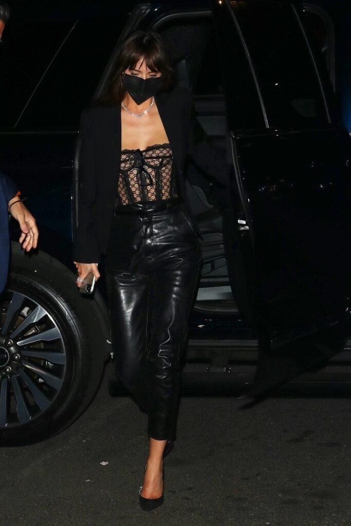 Dakota Johnson a purtat un corset din dantelă și o pereche de pantaloni din piele la Festivalul de Film de la New York 2021