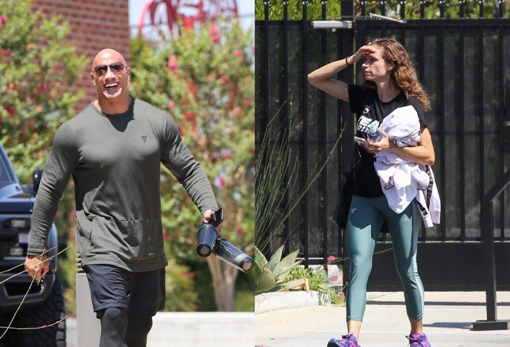 Colaj cu Dwayne Johnson și soția sa Lauren Hashian după ce actorul a mers la sală cu soția sa și au purtat ținute asemănătoare în Los Angeles