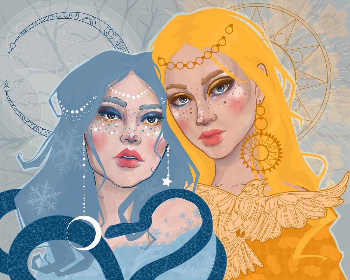 Două femei frumoase, una albastră și una galbenă care reprezintă soarele și luna, ziua și noaptea, pentru a marca echinocțiul de toamnă