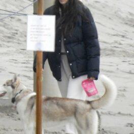 Camila Morrone, fotografiată în timp ce plimbă câinele pe plajă, în 2019