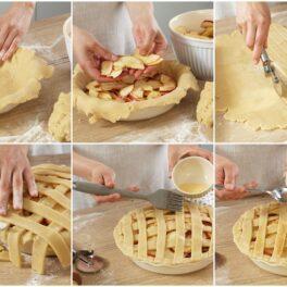 Colaj de poze cu pașii de asamblare a plăcintei americane cu mere