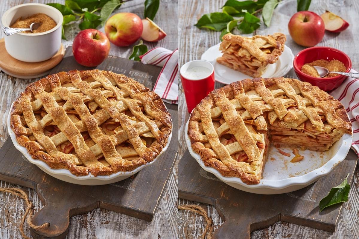 Colaj de poze cu prezentarea plăcintei americane cu mere, întreagă și secționată