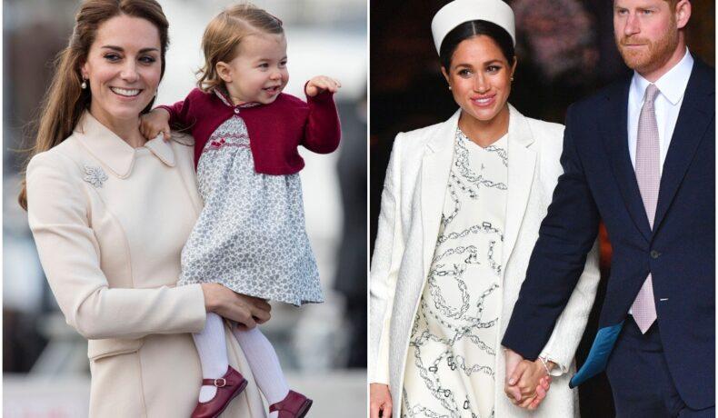 Colaj Kate Middleton și Meghan Markle. Ambele poartă alb. Kate o ține în brațe pe Prințesa Charlotte, Meghan Markle e alături de soțul ei, Prințul Harry