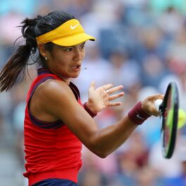 Emma Răducanu, la US Open 2021, în timpul meciului cu Belinda Bencic