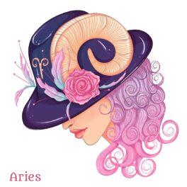 O femeie frumoasă care poartă o pălărie violet cu coarne de berbec peste părul său creț și roz