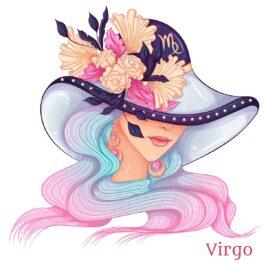 O femeie frumoasă cu o pălărrie mare pe cap cu flori pentru a reprezenta zodia fecioarei