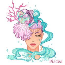 O femeie frumoasă cu faună acvatică prinsă în păr pentru a reprezenta zodia peștilor