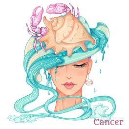 O femeie frumoasă care poartă în păr o cohilie de rac și reprezintă zodia racului