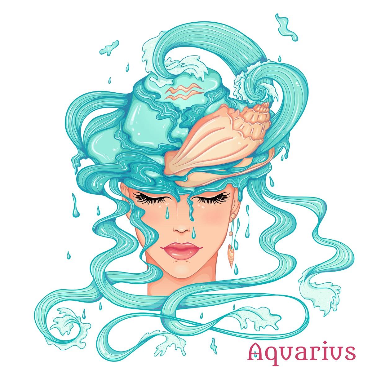 O femeie frumoasă cu părul lung și albastru pentru a reprezenta zodia vărsătorului
