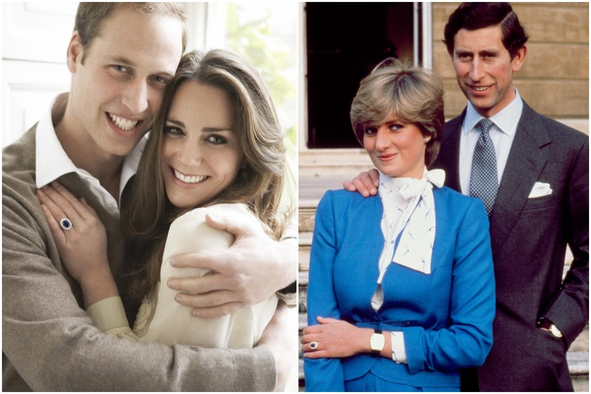 Colaj Kate Middleton și Prințul William și Prințesa Diana și prințul Charles. În prima poză, Kate și William sărbătoresc aniversarea logodnei, în a doua, Diana și Charles își anunță logodna. Kate și William poartă nuanțe de alb și bej. Diana poartă o rochie albastră, cu accente albe, Charles poartă un costum închis la culoare