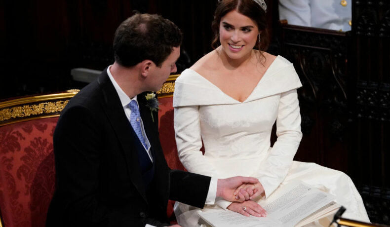 Prințesa Eugenie, alături de soțul ei, Jack Brooksbank, în ziua nunții lor