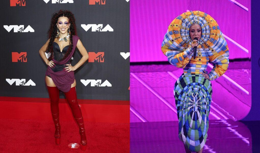 Colaj cu Doja Cat pe covorul roșu și pe scena de la MTV VMA 2021